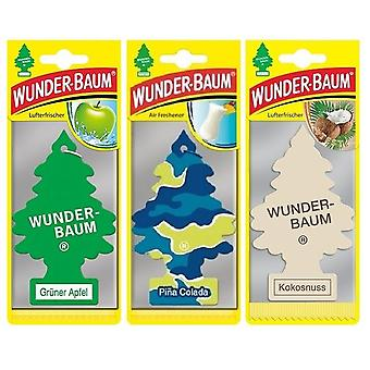 Wunder-Baum Fragrance Tree (Apple + Pina Colada+ Coconut) 3-Pack