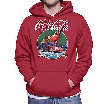 Coca Cola feriados estão chegando caminhão homens ' s camisola com capuz