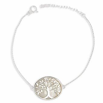 ADEN 925 Sterling Silver White Mother-of-pearl Tree of Life Round Shape Pendant Necklace (id 3991)