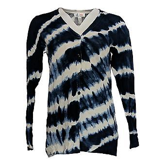 Denim & Co. Frauen's Pullover Tie Dye Cardigan blau