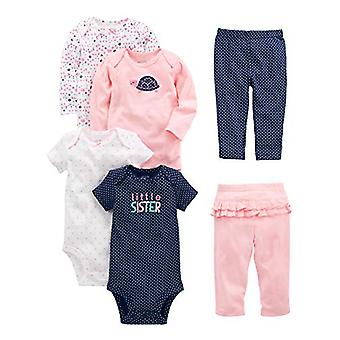 Simple Joys by Carter's Baby Girls' 6-Piece Little Character Set, Pink/Navy R...