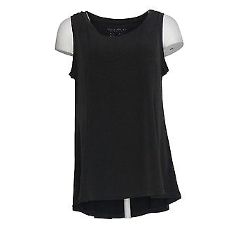 Susan Graver Women's Top Liquid Knit Fit And Flare Tank Black A352201