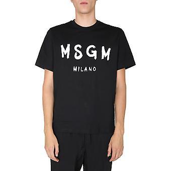 Msgm 2940mm9720759899 Männer's schwarze Baumwolle T-shirt