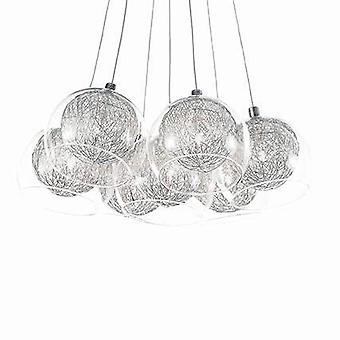 7 Light  Small Cluster Pendant Chrome, G4 Bulb