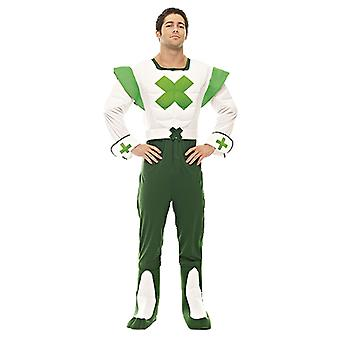 Mens Green Cross code man verkeersveiligheid 70s 80s thema fancy dress kostuum