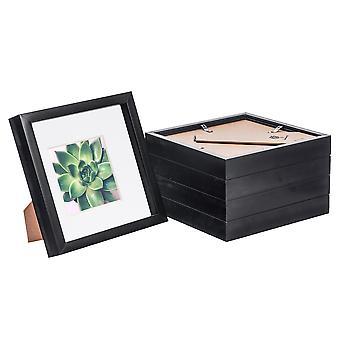 Nicola Spring 5 Piece 8 x 8 3D Shadow Box Photo Frame Set - Craft Display Picture Frame - Glass Aperture - Black
