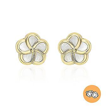 9ct Or jaune nacre de pearl fleur stud boucle d'oreille avec push back pour les femmes TJC
