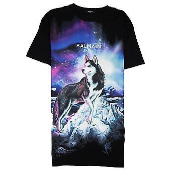 Balmain Oversized Lone Wolf T-Shirt Black