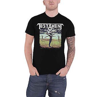 Testament T Shirt Pratique Ce que vous prêchez logo de bande nouveau officiel Mens Black