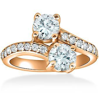 1 1/2 cttw Forever Us 2-Stone Diamond Engagement Forever Us Ring 14k Rose Gold