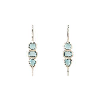 Gemstone Hoop Earring Silver Blue Topaz Stud Statement Geometric Silver 925 Gift