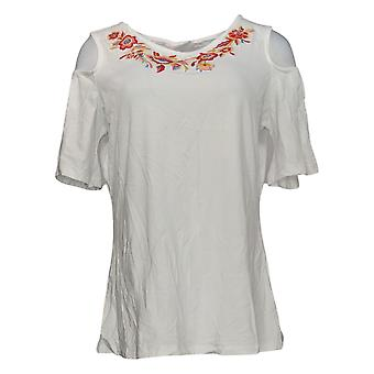 Belle By Kim Gravel Women's Top Cold Shoulder W/ Embroidery White A303492
