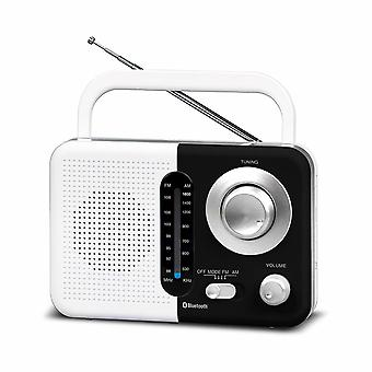 Soundz SZ412 AM/FM PortableBluetooth Radio USB Port And SD Card Slot,White/Black
