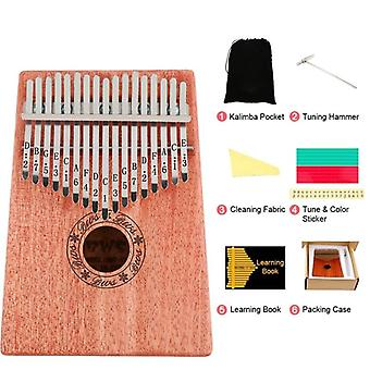17 teclas Kalimba Thumb Finger, Piano Musical Instruments, Mbira With Hammer