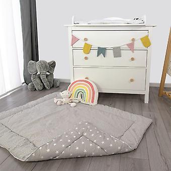 Puckdaddy Crawling Blanket Frida 140x100cm com White Star Dots Patterns Cinza