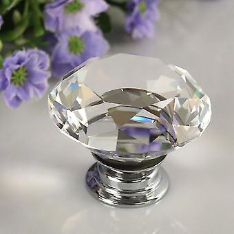 Diamond Crystal Glass Alloy Door Drawer Cabinet Wardrobe Pull Handle Knobs