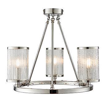 Endon Lighting Easton Triple Semi-Flush Ceiling Light In Bright Nickel