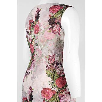 Scoop Neck Sleeveless Zipper Back Floral Print Dress