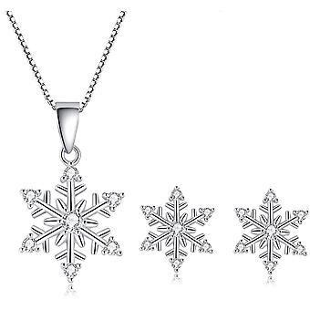 Shuxin Silver Snowflake Jewellery Set for Women, 925 Sterling Silver Earrings
