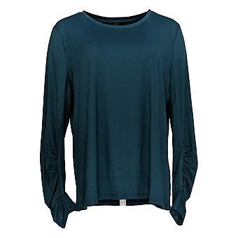 G.I.L.I. fik det elsker det Women's Top Strik Ruched T-shirt Teal Blue A350336