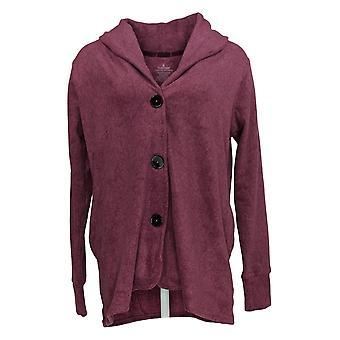 Cuddl Duds Women's Sweater Fleecewear Front Button Cardigan Roxo A369667