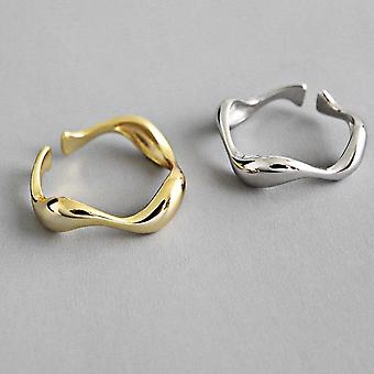 925 الاسترليني الفضة الإبداعية اليدوية غير منتظمة موجة حلقات على نحو سلس