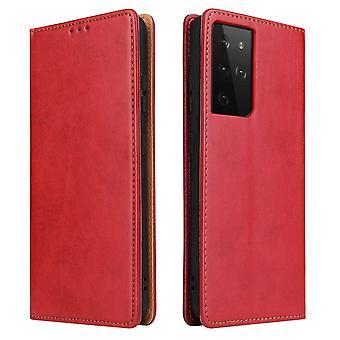 Para Samsung Galaxy S21 Ultra Caso de cuero Flip Cartera Folio Cubierta Roja