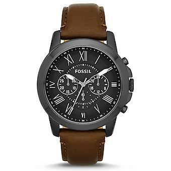 Fóssil FS4885 Cronógrafo Preto Dial Brown Leather Men's Watch