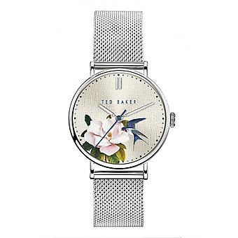 Ted Baker Watches Silver Floral Dial Silver Band Ladies Watch BKPPFF902