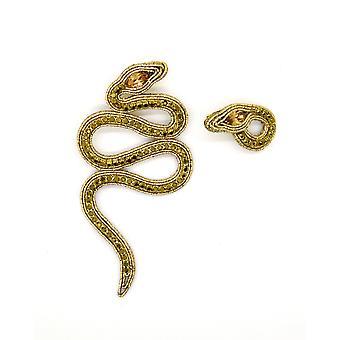 Neshodné náušnice had s krystaly ve zlatě