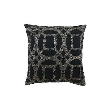 Ensemble contemporain de modèle de 2 oreillers avec la conception intrigante, gris, noir