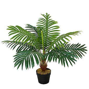 Outsunny 60cm/2FT Artificial Palm Tree Decorative Plant 8 Leaves with Nursery Pot, Fake Tropical Tree for Indoor Outdoor Décor