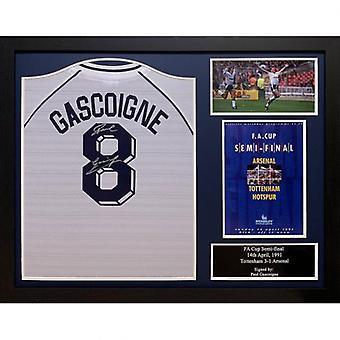 Tottenham Hotspur Gascoigne firmato camicia (con cornice)