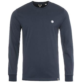 Pretty Green Crinkle Long Sleeve T-Shirt - Navy