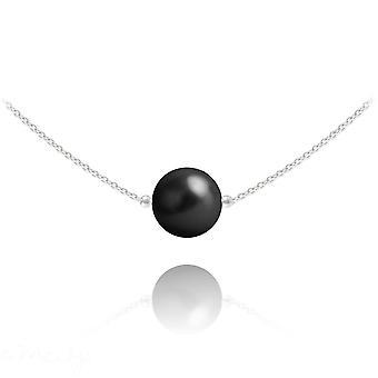 Silver black pearl  choker necklace with swarovski crystal