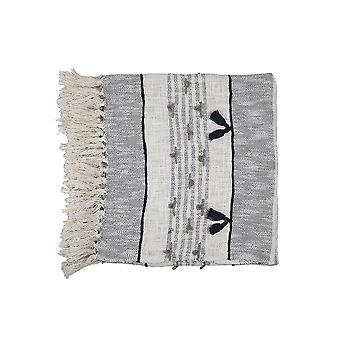 Alma Tassel Throw, Grey - 50x66 Inch