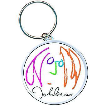 John Lennon Keyring Keychain Self Portrait Logo Peace new Official White