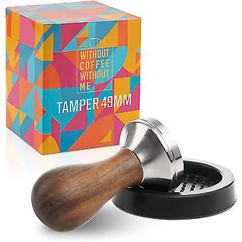 Wokex Premium Espresso Tamper Set 49mm - Kaffeestampfer aus Edelstahl mit einem elegant geformten