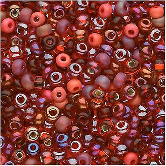 Cuentas de semillas de vidrio checas, 6/0 Round, 1 onza, Devil's Food Ruby Red Mix