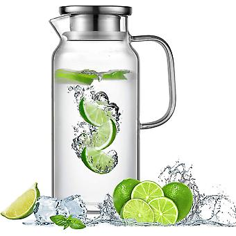 FengChun Glaskaraffe 1.8L Wasserkrug aus Borosilikatglas Wasserkaraffe mit Edelstahl Deckel Glaskrug