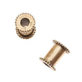 Nunn Design Antiqued 24K Or Plaqué Grand Trou Canal Noyau de Perles 13mm (1 Perle)