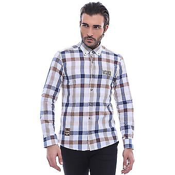 Plaid embroidered beige long sleeve shirt