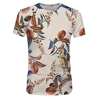 オールザメン メンズ サマー フローラルプリント カジュアルTシャツ