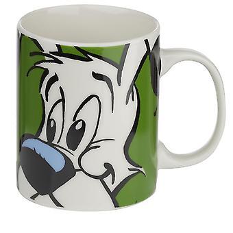 Coppa Asterix Idefix bianco/gr³n, stampato, porcellana al 100%, scatola regalo con finestra panoramica.