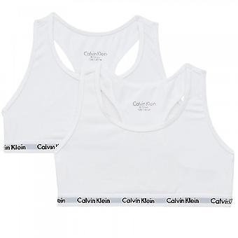 كالفن كلاين بنات 2 حزمة القطن الحديث Bralette، PVH الأبيض، 8-10 سنوات