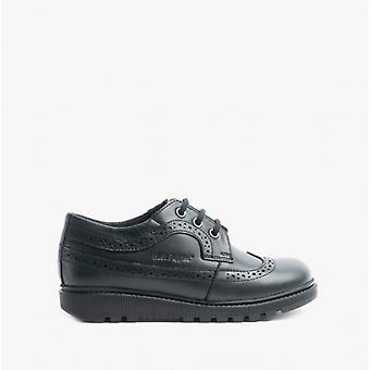 Hush Puppies Felicity Junior Girls Leather Oxford Shoes Black