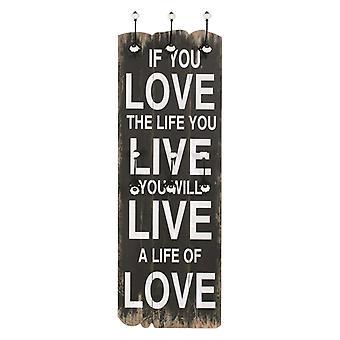 """vidaXL wandkast met 6 haken 120 x 40 cm """"LOVE LIVE"""""""
