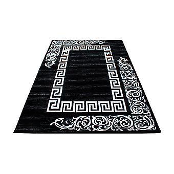 ShortFlor Rug Antique Ornament Tribal Design Pattern Grey Black Mottled