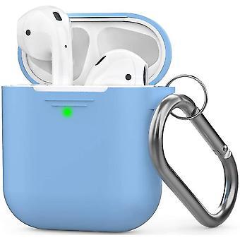 Ανοικτό μπλε περίπτωση σιλικόνης airpods με το συμβατό με πόρπη μήλο 2 &1 dt6768
