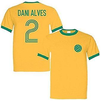 Sporting empire dani alves 2 brazil legend ringer retro t-shirt yellow/green, large